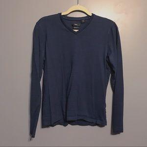 Boss Hugo Boss V-neck Blue Long Sleeve Shirt Small